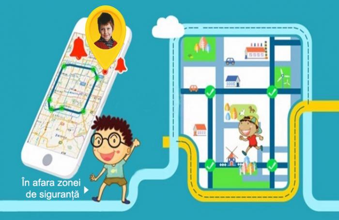 Ceas Smartwatch cu GPS pentru Copii, Smartic, Albastru, Dreptunghiular, functie apeluri, localizare GPS, camera foto, zona de siguranta, buton SOS 5