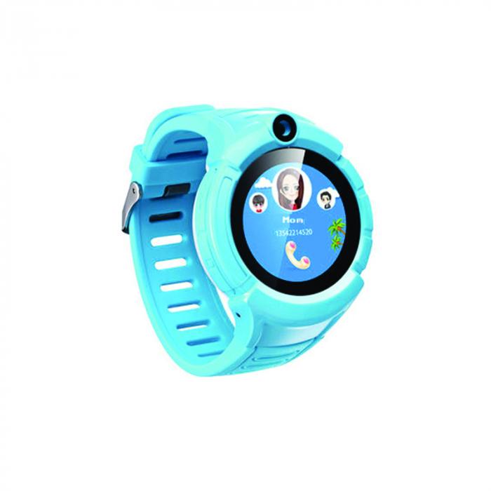 Ceas Smartwatch cu GPS pentru Copii, Smartic, Albastru, Rotund, functie apeluri, localizare GPS, camera foto, zona de siguranta, buton SOS 0