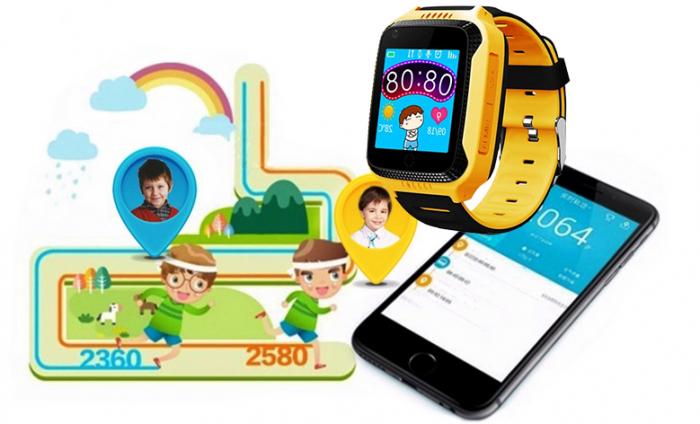Ceas Smartwatch cu GPS pentru Copii, Smartic, Galben, Dreptunghiular, functie apeluri, localizare GPS, camera foto, zona de siguranta, buton SOS 3