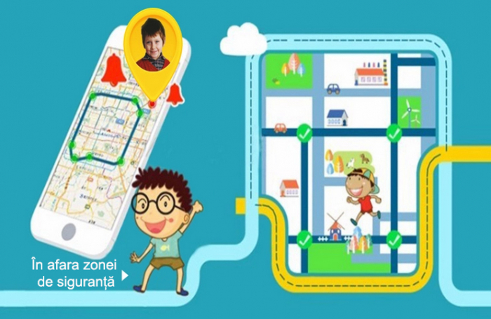Ceas Smartwatch cu GPS pentru Copii, Smartic, Galben, Dreptunghiular, functie apeluri, localizare GPS, camera foto, zona de siguranta, buton SOS 5