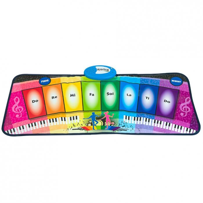 Covor muzical pian cu 8 taste, 2 programe si 8 melodii programate, 80x35 cm, SMARTIC®, multicolor 0