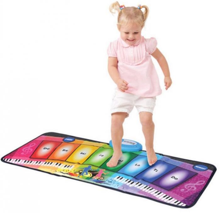 Covor muzical pian cu 8 taste, 2 programe si 8 melodii programate, 80x35 cm, SMARTIC®, multicolor 1