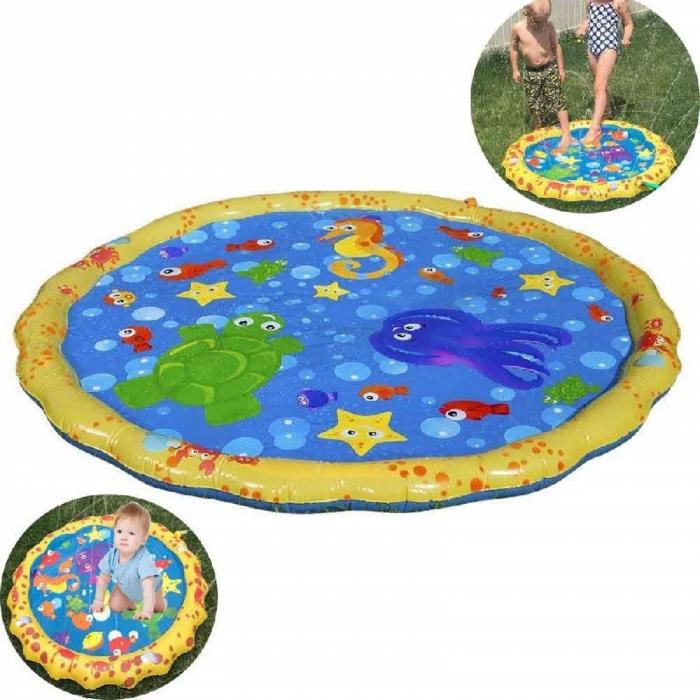 Covoras de joaca pentru copii,  Gonflabil, cu Stropi de Apa, Material PVC, SMARTIC®, 170 cm, multicolor 5