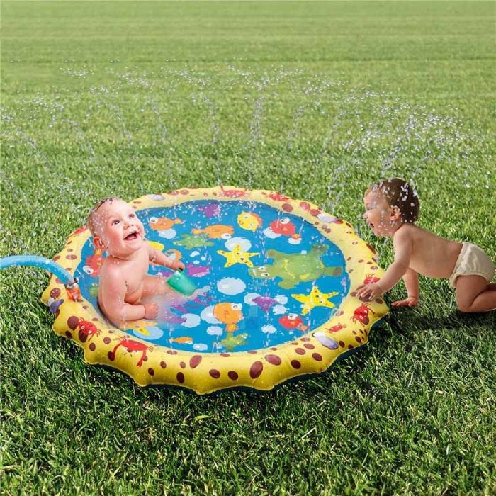 Covoras de joaca pentru copii,  Gonflabil, cu Stropi de Apa, Material PVC, SMARTIC®, 170 cm, multicolor 2