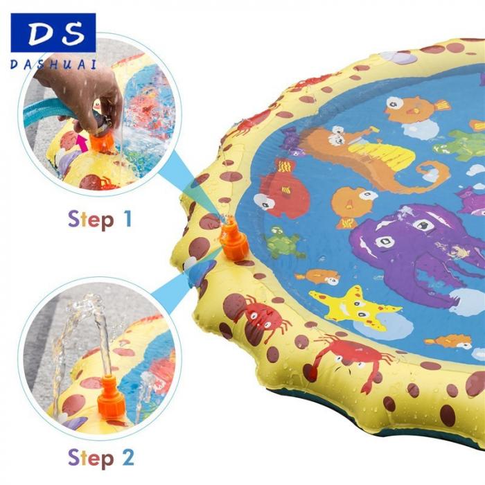 Covoras de joaca pentru copii,  Gonflabil, cu Stropi de Apa, Material PVC, SMARTIC®, 170 cm, multicolor 7