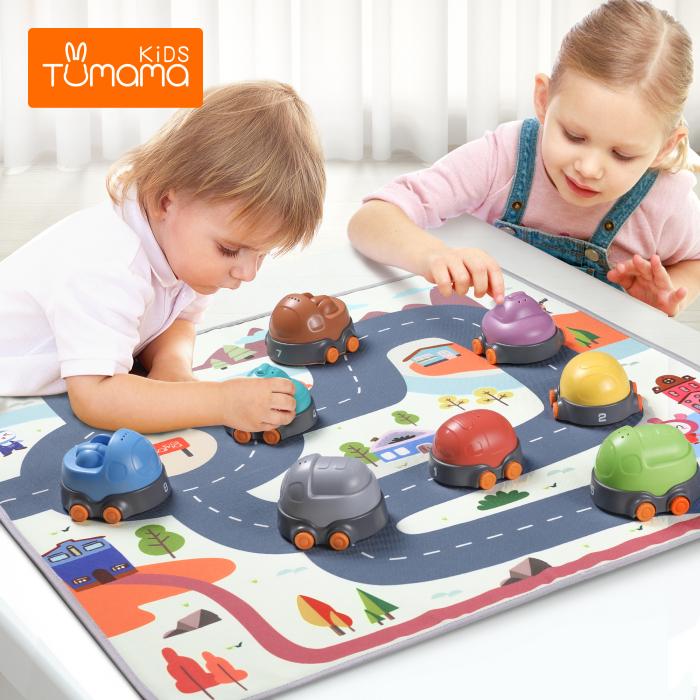Covoras interactiv si educativ cu masinute, 68x68 cm, material plastic ABS, Tumama®, multicolor [1]