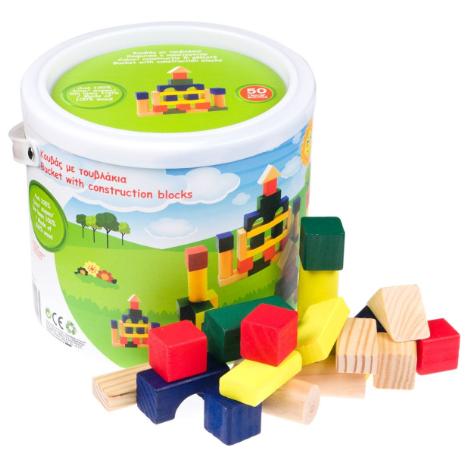 Cuburi colorate din lemn pentru constructii, 50 piese,SMARTIC®, multicolor 1