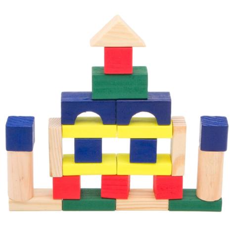 Cuburi colorate din lemn pentru constructii, 50 piese,SMARTIC®, multicolor 0