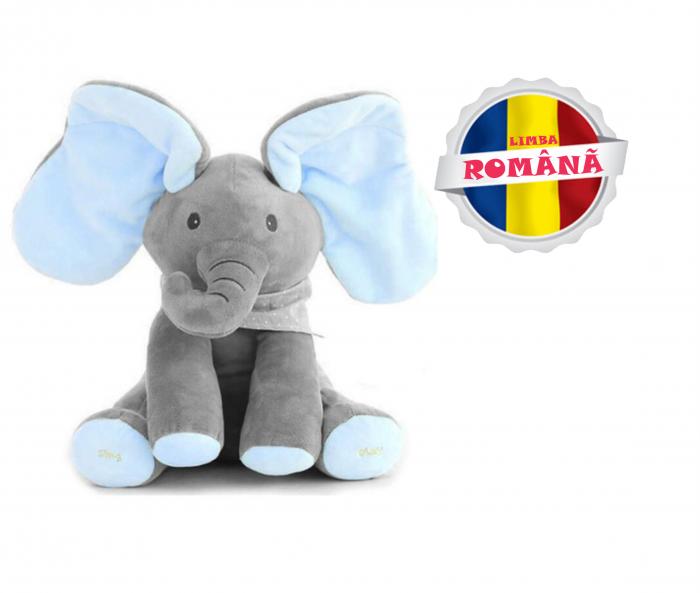 "Elefant Cucu Bau in Limba Romana, Jucarie Interactiva Peek a Boo, vorbeste si canta ""Daca vesel se traieste"", Albastru/Gri [0]"