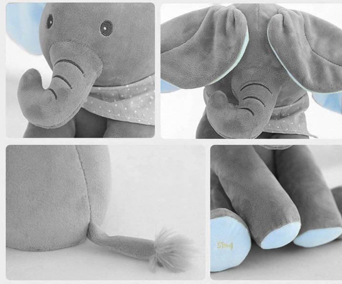 Elefant Cucu Bau, Peek a Boo, canta si vorbeste in Limba Romana - Editie de Craciun - Gri/Albastru [3]
