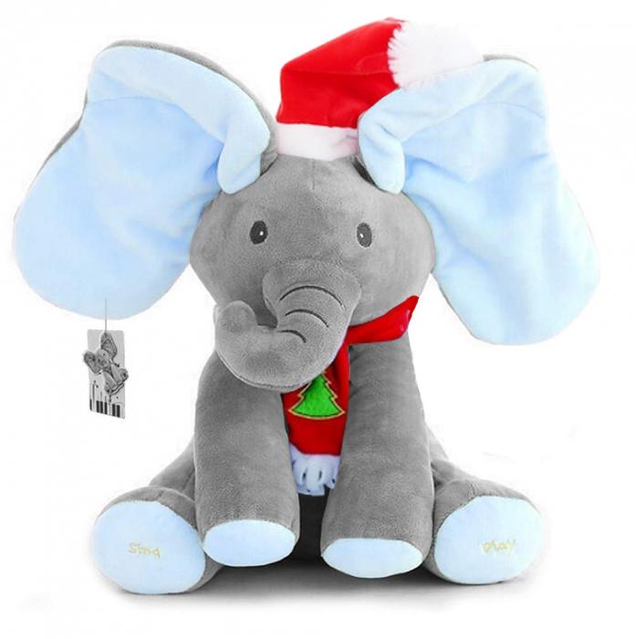 Elefant Cucu Bau, Peek a Boo, canta si vorbeste in Limba Romana - Editie de Craciun - Gri/Albastru [1]