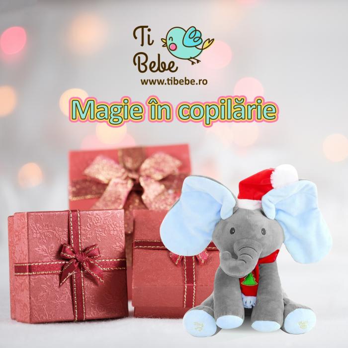 Elefant Cucu Bau, Peek a Boo, canta si vorbeste in Limba Romana - Editie de Craciun - Gri/Albastru [6]