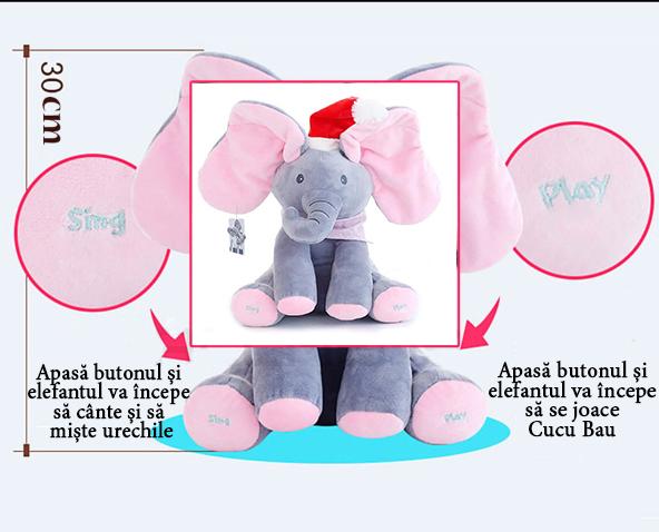Elefant Cucu Bau, Peek a Boo, canta si vorbeste in Limba Romana - Editie de Craciun - Gri/Roz [4]