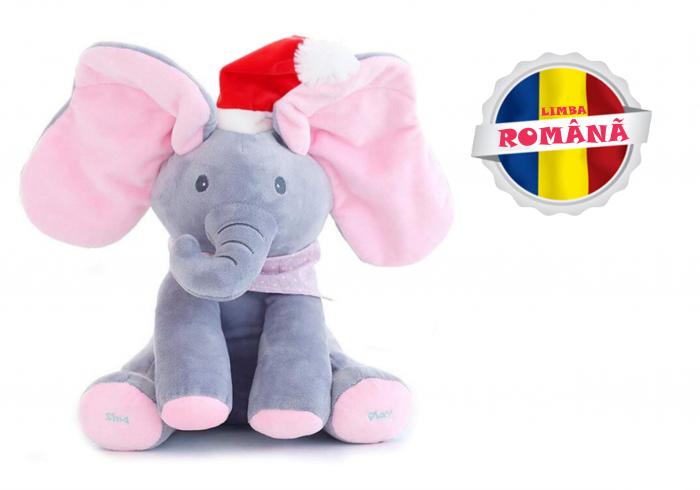 Elefant Cucu Bau, Peek a Boo, canta si vorbeste in Limba Romana - Editie de Craciun - Gri/Roz [0]