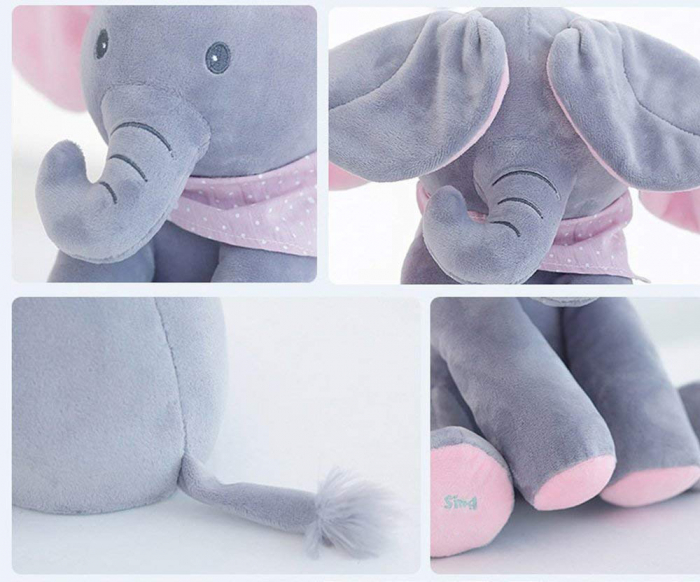Elefant Cucu Bau, Peek a Boo, canta si vorbeste in Limba Romana - Editie de Craciun - Gri/Roz [5]