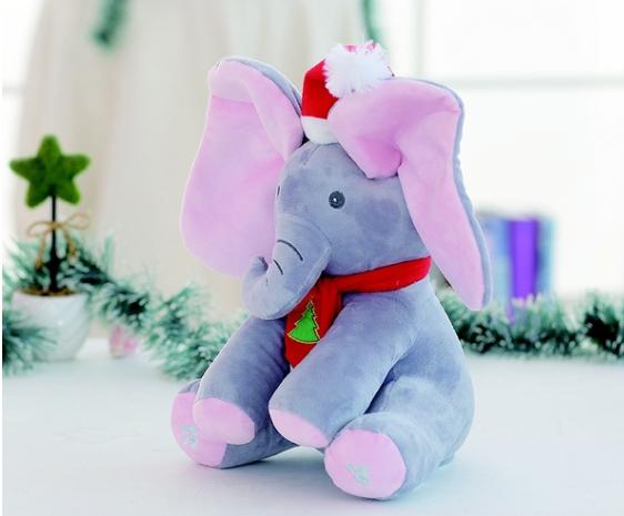Elefant Cucu Bau, Peek a Boo, canta si vorbeste in Limba Romana - Editie de Craciun - Gri/Roz [3]