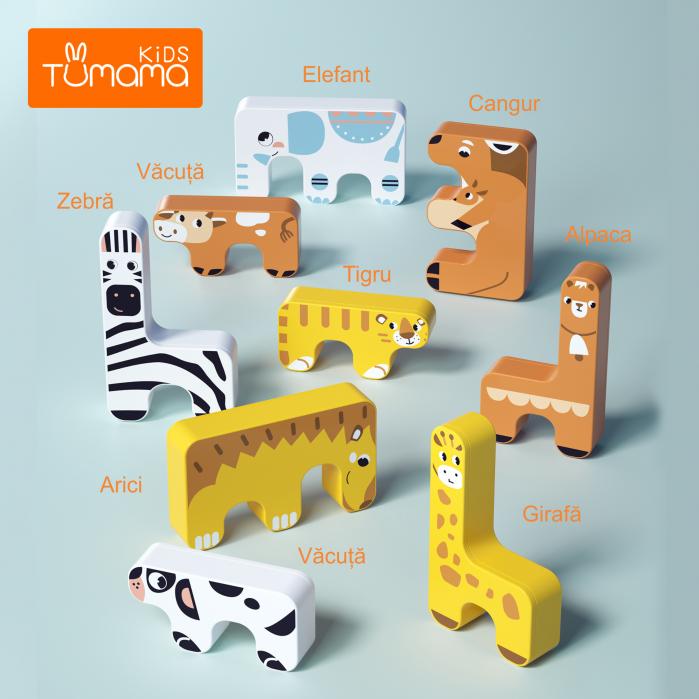 Joc Intercativ 15 piese cu Animale , Material Plastic, Varsta +3 ani, Tumama®, galben/alb/maro [1]