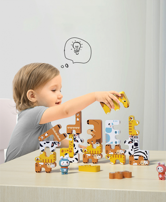 Joc Intercativ 15 piese cu Animale , Material Plastic, Varsta +3 ani, Tumama®, galben/alb/maro [5]