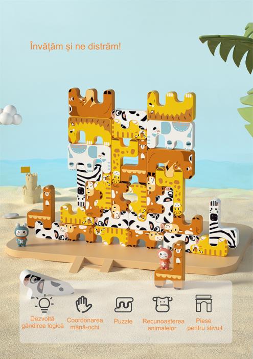 Joc Intercativ 15 piese cu Animale , Material Plastic, Varsta +3 ani, Tumama®, galben/alb/maro [6]