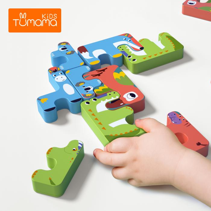 Joc Intercativ 15 piese cu Animale , Material Plastic, Varsta +3 ani, Tumama®, rosu/verde/albastru [3]
