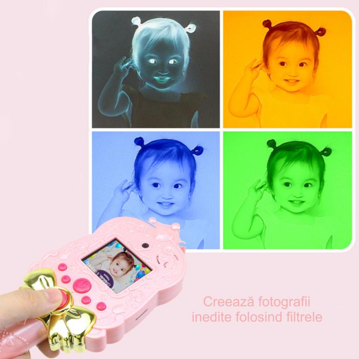 Jucarie aparat foto pentru copii Magic Mirror, Display 2.0 inch, Camera 5 MP, Functie Foto/Video, Focalizare Automata, Smartic®, roz 7