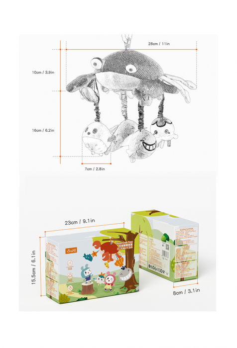 Jucarie Carusel cu Oglinda Acrilica si Zornaitori, Animale Marine, Varsta recomandata +0 luni, Tumama®, multicolor [9]
