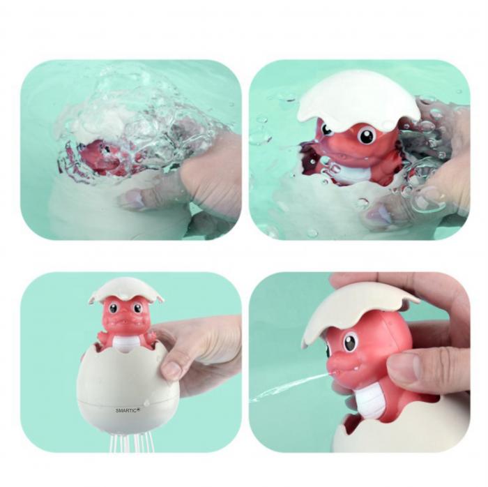 Jucarie de baie educativa si interactiva pentru copii, Dinozaur Cucu-Bau, Smartic®, roz 3