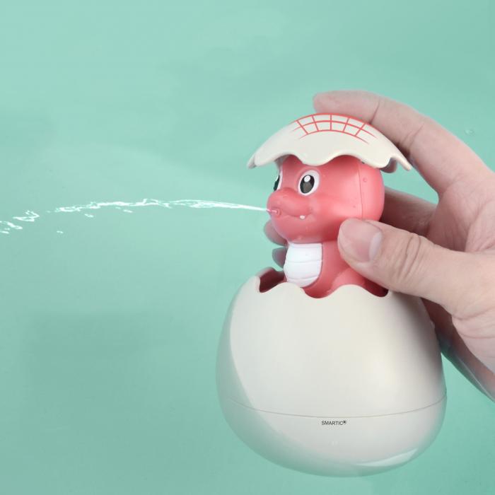 Jucarie de baie educativa si interactiva pentru copii, Dinozaur Cucu-Bau, Smartic®, roz 2