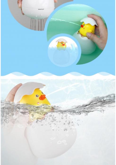 Jucarie de baie educativa si interactiva pentru copii, Puisor Cucu-Bau, Smartic®, galben 3