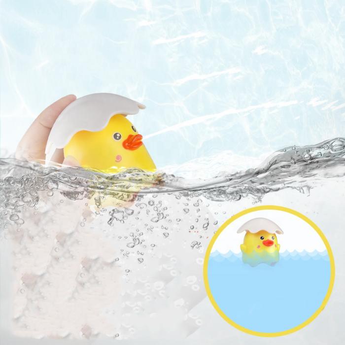 Jucarie de baie educativa si interactiva pentru copii, Puisor Cucu-Bau, Smartic®, galben 4