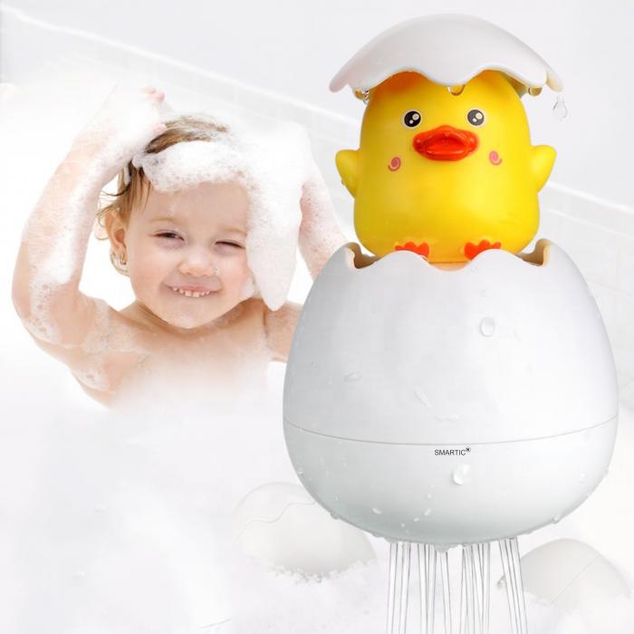 Jucarie de baie educativa si interactiva pentru copii, Puisor Cucu-Bau, Smartic®, galben 5