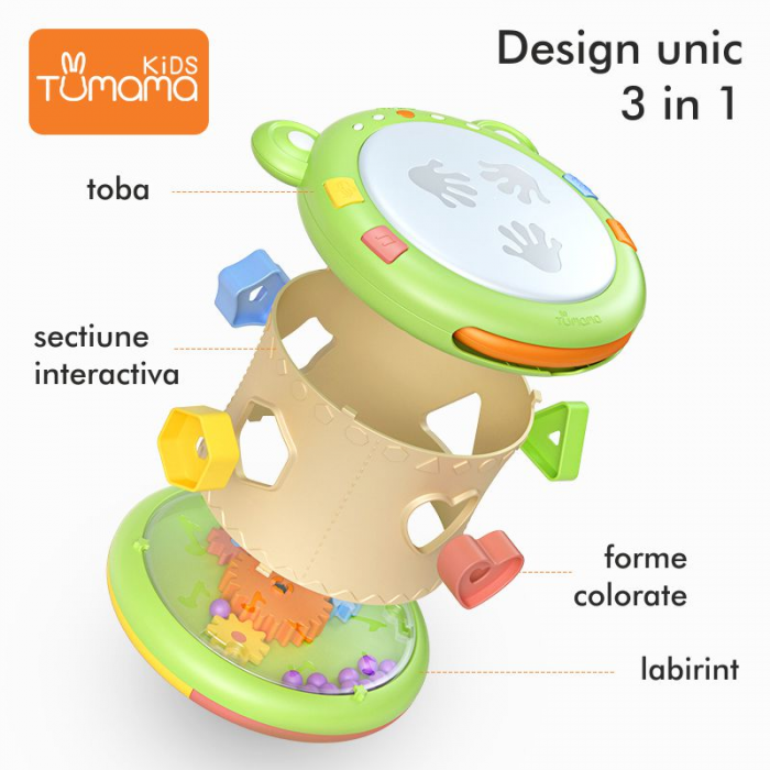Jucarie interactiva 3in1 cu toba, cub educativ si labirint, pentru copii si bebelusi, Tumama 1