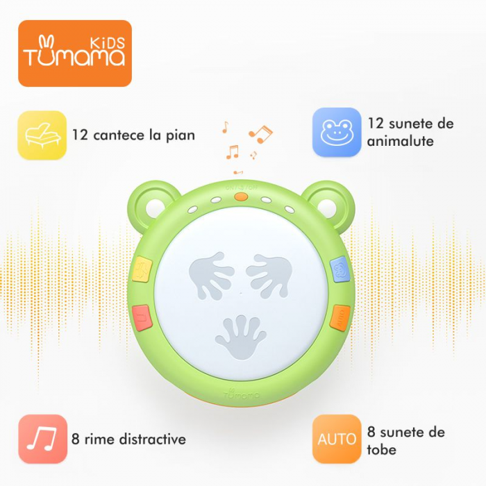 Jucarie interactiva 3in1 cu toba, cub educativ si labirint, pentru copii si bebelusi, Tumama 2