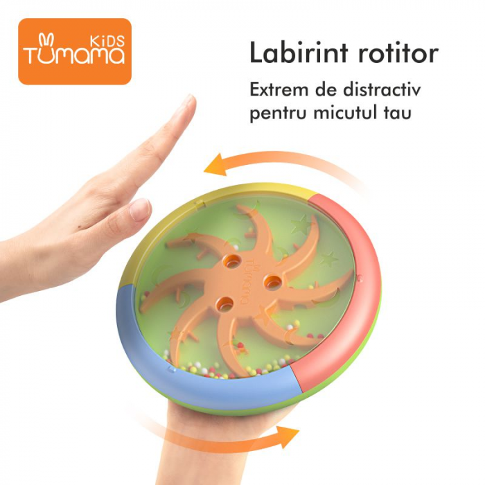 Jucarie interactiva 3in1 cu toba, cub educativ si labirint, pentru copii si bebelusi, Tumama 3