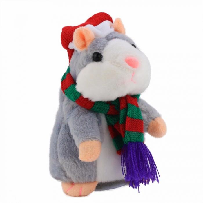Jucarie Interactiva Copii Hamsterul Vorbitor, Editie de Craciun, Gri [2]