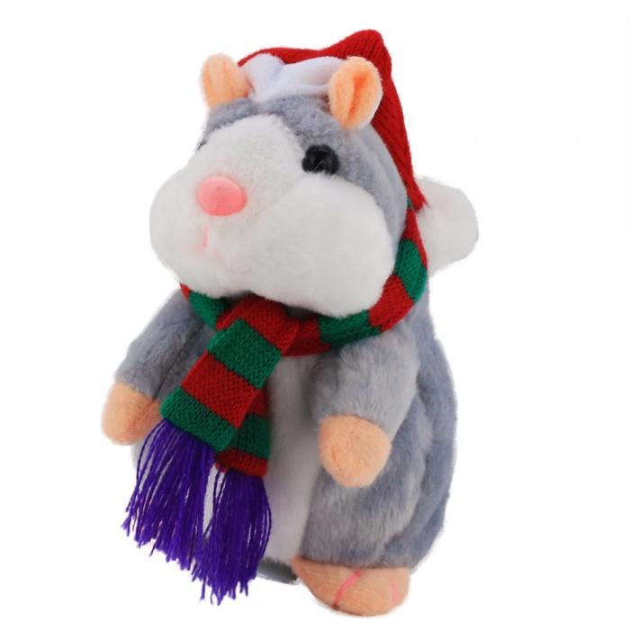 Jucarie Interactiva Copii Hamsterul Vorbitor, Editie de Craciun, Gri 3