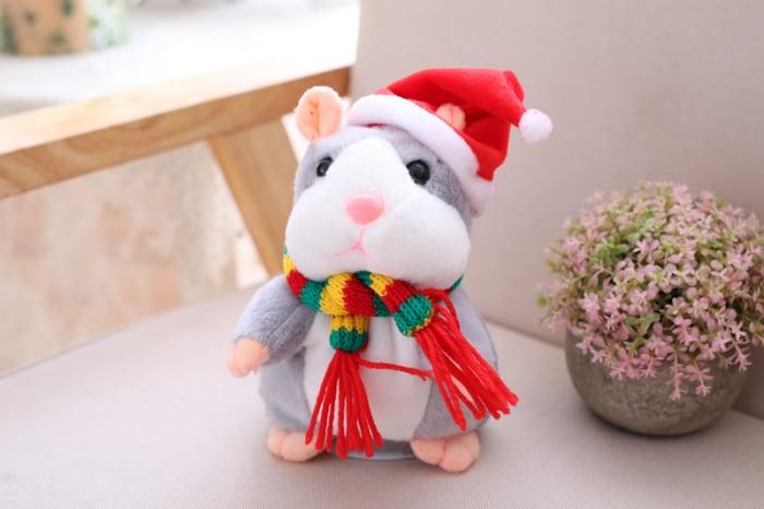 Jucarie Interactiva Copii Hamsterul Vorbitor, Editie de Craciun, Gri 5