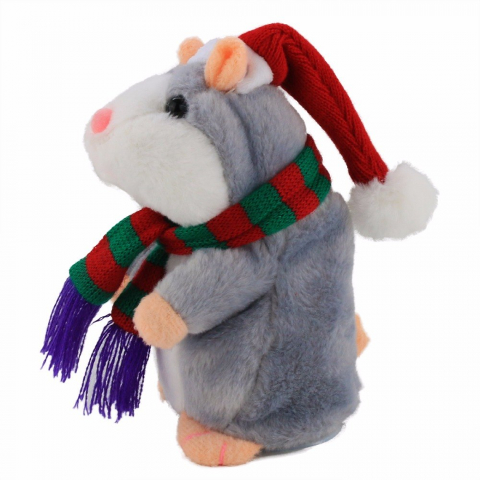 Jucarie Interactiva Copii Hamsterul Vorbitor, Editie de Craciun, Gri 1