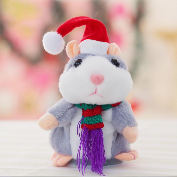 Jucarie Interactiva Copii Hamsterul Vorbitor, Editie de Craciun, Gri 4