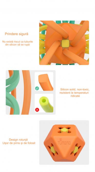 Jucarie Interactiva Educationala Zornaitoare pentru bebelusi, Design Labirint din Silicon, varsta + 3 luni, Tumama®, multicolor [5]