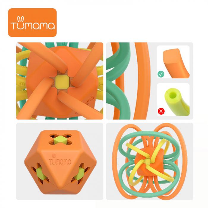 Jucarie Interactiva Educationala Zornaitoare pentru bebelusi, Design Labirint din Silicon, varsta + 3 luni, Tumama®, multicolor [4]