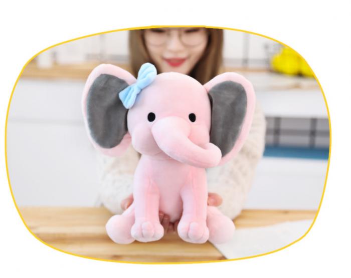 "Jucarie interactiva Elefant Cucu Bau cu fundita in Limba Romana, vorbeste si canta ""Daca vesel se traieste"", Smartic®, roz [4]"