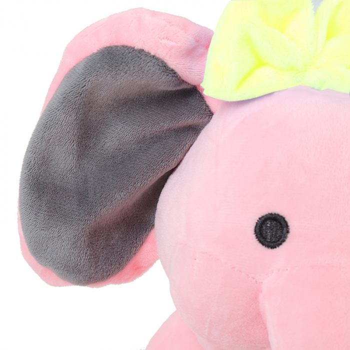 "Jucarie interactiva Elefant Cucu Bau cu fundita in Limba Romana, vorbeste si canta ""Daca vesel se traieste"", Smartic®, roz [2]"