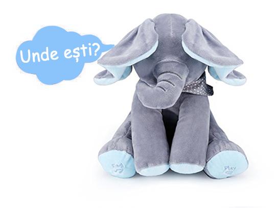 Jucarie interactiva Elefant Cucu Bau, Peek a Boo - canta si vorbeste in Limba ROMANA 5