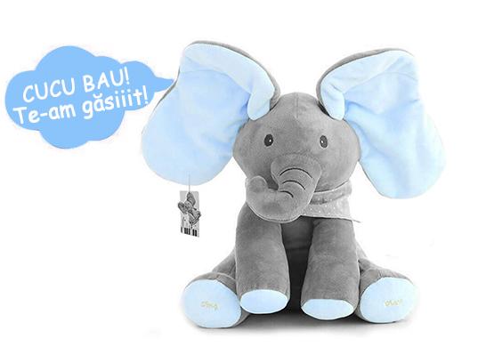 Jucarie interactiva Elefant Cucu Bau, Peek a Boo - canta si vorbeste in Limba ROMANA 4