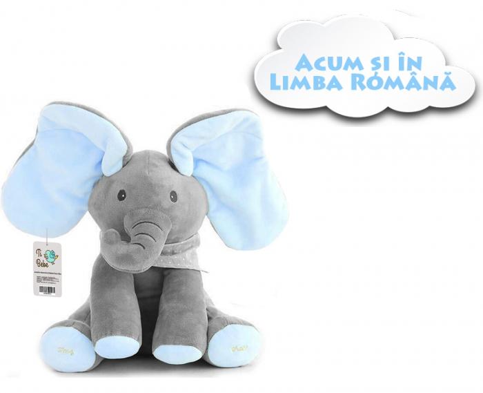 Jucarie interactiva Elefant Cucu Bau, Peek a Boo - canta si vorbeste in Limba ROMANA 0