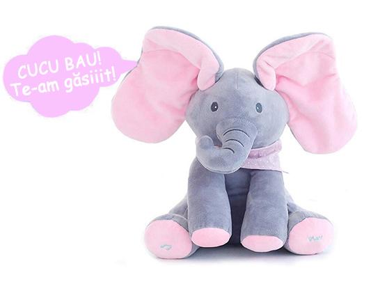 Jucarie interactiva Elefant Cucu Bau, Peek a Boo - canta si vorbeste in Limba ROMANA 2