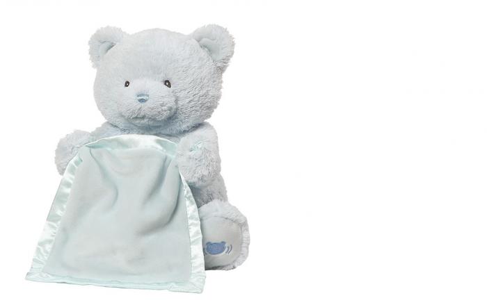 Jucarie interactiva, Ursulet de plus Cucu Bau, Peek a Boo, vorbeste in Limba Romana, Smartic®, albastru [1]