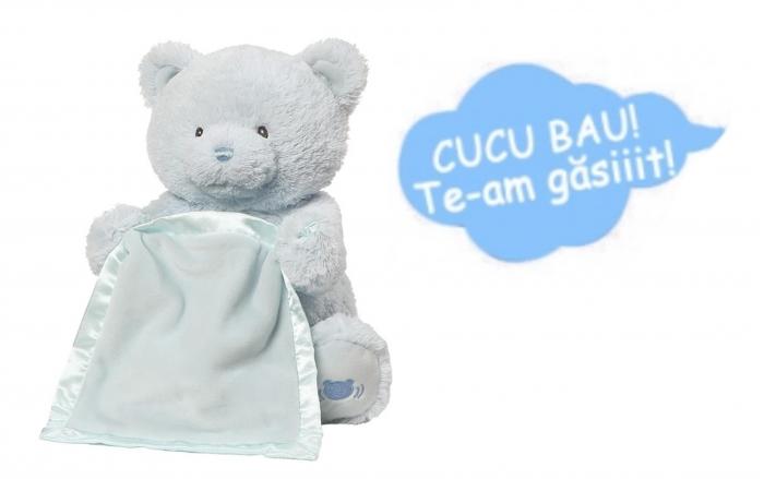 Jucarie interactiva, Ursulet de plus Cucu Bau, Peek a Boo, vorbeste in Limba Romana, Smartic®, albastru [5]
