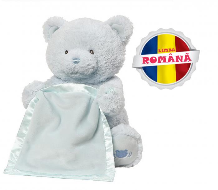 Jucarie interactiva, Ursulet de plus Cucu Bau, Peek a Boo, vorbeste in Limba Romana, Smartic®, albastru [0]